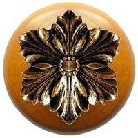Notting Hill NHW-725M-BB, Opulent Flower Wood Knob in Brite Brass/Maple Wood, Classic