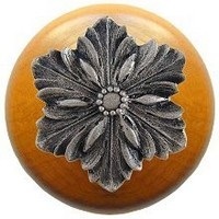 Notting Hill NHW-725M-SN, Opulent Flower Wood Knob in Satin Nickel/Maple Wood, Classic