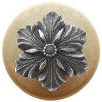 Notting Hill NHW-725N-AP, Opulent Flower Wood Knob in Antique Pewter/Natural Wood, Classic