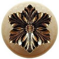Notting Hill NHW-725N-BB, Opulent Flower Wood Knob in Brite Brass/Natural Wood, Classic