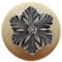 Notting Hill NHW-725N-SN, Opulent Flower Wood Knob in Satin Nickel/Natural Wood, Classic