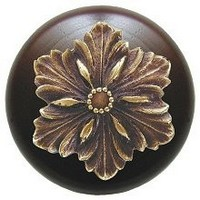 Notting Hill NHW-725W-AB, Opulent Flower Wood Knob in Antique Brass/Dark Walnut Wood, Classic