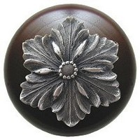 Notting Hill NHW-725W-AP, Opulent Flower Wood Knob in Antique Pewter/Dark Walnut Wood, Classic