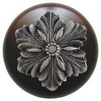 Notting Hill NHW-725W-SN, Opulent Flower Wood Knob in Satin Nickel/Dark Walnut Wood, Classic