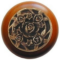 Notting Hill NHW-726C-AB, Saratoga Rose Wood Knob in Antique Brass/Cherry Wood, Floral