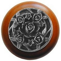 Notting Hill NHW-726C-AP, Saratoga Rose Wood Knob in Antique Pewter/Cherry Wood, Floral