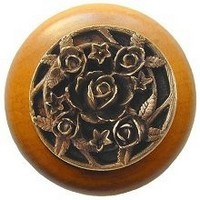 Notting Hill NHW-726M-AB, Saratoga Rose Wood Knob in Antique Brass/Maple Wood, Floral