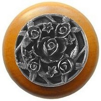 Notting Hill NHW-726M-AP, Saratoga Rose Wood Knob in Antique Pewter/Maple Wood, Floral
