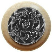 Notting Hill NHW-726N-AP, Saratoga Rose Wood Knob in Antique Pewter/Natural Wood, Floral