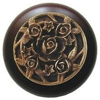 Notting Hill NHW-726W-AB, Saratoga Rose Wood Knob in Antique Brass/Dark Walnut Wood, Floral