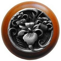 Notting Hill NHW-728C-AP, River Iris Wood Knob in Antique Pewter/Cherry Wood, Floral