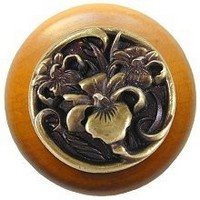 Notting Hill NHW-728M-AB, River Iris Wood Knob in Antique Brass/Maple Wood, Floral