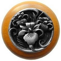 Notting Hill NHW-728M-AP, River Iris Wood Knob in Antique Pewter/Maple Wood, Floral