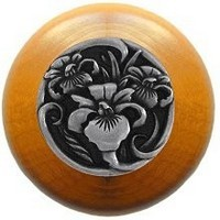 Notting Hill NHW-728M-BP, River Iris Wood Knob in Brilliant Pewter/Maple Wood, Floral