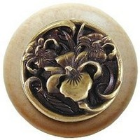 Notting Hill NHW-728N-AB, River Iris Wood Knob in Antique Brass/Natural Wood, Floral
