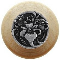 Notting Hill NHW-728N-BP, River Iris Wood Knob in Brilliant Pewter/Natural Wood, Floral