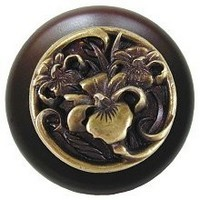 Notting Hill NHW-728W-AB, River Iris Wood Knob in Antique Brass/Dark Walnut Wood, Floral