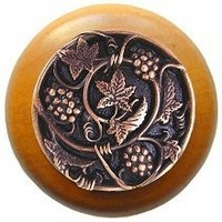 Notting Hill NHW-729M-AC, Grapevines Wood Knob in Antique Copper/Maple Wood, Tuscan