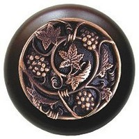 Notting Hill NHW-729W-AC, Grapevines Wood Knob in Antique Copper/Dark Walnut Wood, Tuscan
