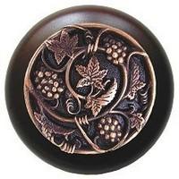 Notting Hill NHW-729W-AC, Grapevines Wood Knob in Antique Copper/Dark Walnut Wood, Tuscan
