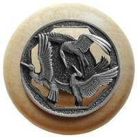 Notting Hill NHW-737N-AP, Crane Dance Wood Knob in Antique Pewter/Natural Wood, Arts & Crafts