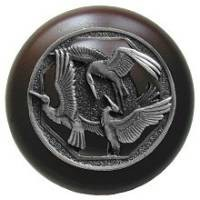 Notting Hill NHW-737W-AP, Crane Dance Wood Knob in Antique Pewter/Dark Walnut Wood, Arts & Crafts