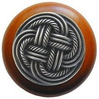 Notting Hill NHW-739C-AP, Classic Weave Wood Knob in Antique Pewter/Cherry Wood, Classic