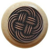 Notting Hill NHW-739N-AC, Classic Weave Wood Knob in Antique Copper/Natural Wood, Classic