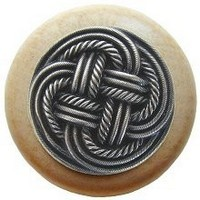 Notting Hill NHW-739N-AP, Classic Weave Wood Knob in Antique Pewter/Natural Wood, Classic