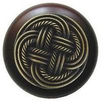 Notting Hill NHW-739W-AB, Classic Weave Wood Knob in Antique Brass/Dark Walnut Wood, Classic