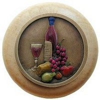 Notting Hill NHW-740N-BHT, Best Cellar Wood Knob in Hand-Tinted Antique Brass/Natural Wood, Tuscan