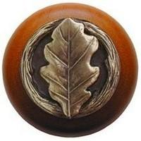 Notting Hill NHW-744C-AB, Oak Leaf Wood Knob in Antique Brass/Cherry Wood, Leaves
