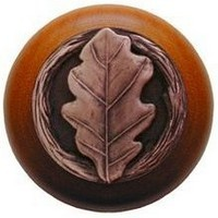 Notting Hill NHW-744C-AC, Oak Leaf Wood Knob in Antique Copper/Cherry Wood, Leaves