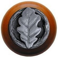 Notting Hill NHW-744C-AP, Oak Leaf Wood Knob in Antique Pewter/Cherry Wood, Leaves