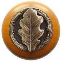 Notting Hill NHW-744M-AB, Oak Leaf Wood Knob in Antique Brass/Maple Wood, Leaves