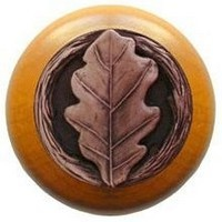 Notting Hill NHW-744M-AC, Oak Leaf Wood Knob in Antique Copper/Maple Wood, Leaves