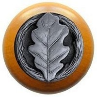 Notting Hill NHW-744M-AP, Oak Leaf Wood Knob in Antique Pewter/Maple Wood, Leaves