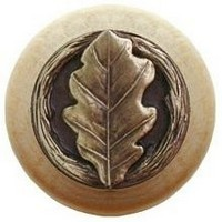 Notting Hill NHW-744N-AB, Oak Leaf Wood Knob in Antique Brass/Natural Wood, Leaves