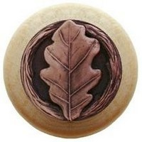 Notting Hill NHW-744N-AC, Oak Leaf Wood Knob in Antique Copper/Natural Wood, Leaves