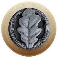 Notting Hill NHW-744N-AP, Oak Leaf Wood Knob in Antique Pewter/Natural Wood, Leaves