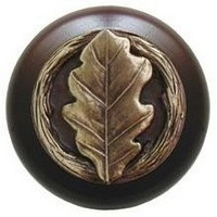 Notting Hill NHW-744W-AB, Oak Leaf Wood Knob in Antique Brass/Dark Walnut Wood, Leaves