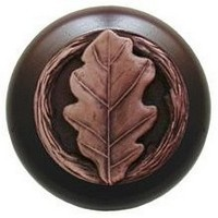 Notting Hill NHW-744W-AC, Oak Leaf Wood Knob in Antique Copper/Dark Walnut Wood, Leaves