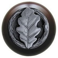 Notting Hill NHW-744W-AP, Oak Leaf Wood Knob in Antique Pewter/Dark Walnut Wood, Leaves