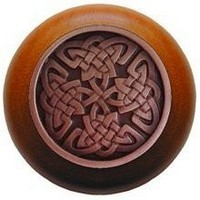 Notting Hill NHW-757C-AC, Celtic Isles Wood Knob in Antique Copper/Cherry Wood, Jewel
