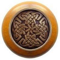 Notting Hill NHW-757M-AB, Celtic Isles Wood Knob in Antique Brass/Maple Wood, Jewel