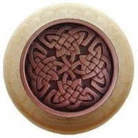 Notting Hill NHW-757N-AC, Celtic Isles Wood Knob in Antique Copper/Natural Wood, Jewel
