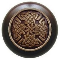 Notting Hill NHW-757W-AB, Celtic Isles Wood Knob in Antique Brass/Dark Walnut Wood, Jewel