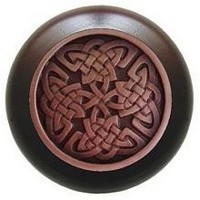 Notting Hill NHW-757W-AC, Celtic Isles Wood Knob in Antique Copper/Dark Walnut Wood, Jewel