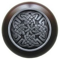 Notting Hill NHW-757W-AP, Celtic Isles Wood Knob in Antique Pewter/Dark Walnut Wood, Jewel