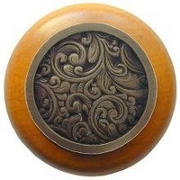 Notting Hill NHW-759M-AB, Saddleworth Wood Knob in Antique Brass/Maple Wood, Classic